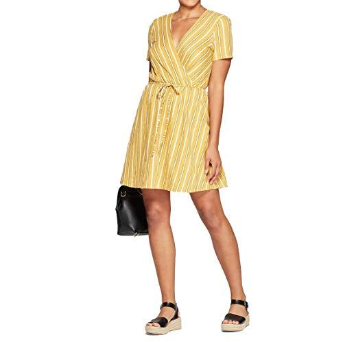 Xhilaration Women's Striped Short Sleeve V-Neck Wrap Knit Mini Dress - Yellow Stripe - (Small)