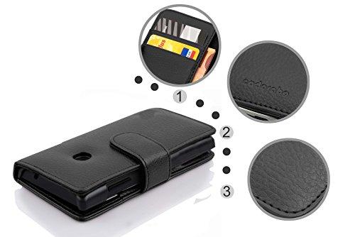 Cadorabo Hülle für Huawei Ascend Y330 - Hülle in Oxid SCHWARZ – Handyhülle mit Kartenfach aus struktriertem Kunstleder - Case Cover Schutzhülle Etui Tasche Book Klapp Style - 5
