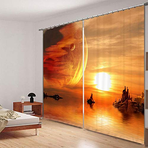 Nonebranded Blackout Curtains Noise Reducing Energy Efficient Draperies For Bedroom - Sunset Ocean Islandh166 X W150 Cm