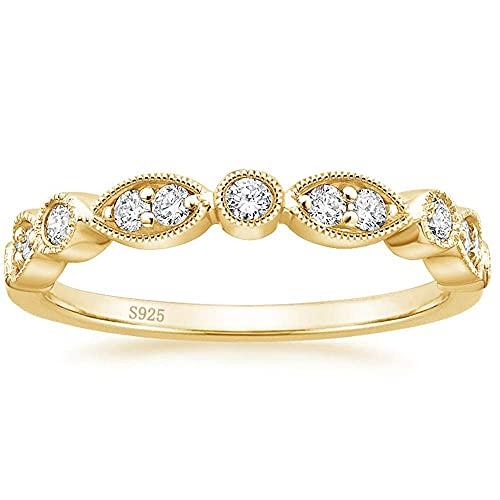 Zakk Eternity Anillo de mujer de plata 925, medio eternidad, estrecho, 2 mm, circonita, anillos de compromiso, alianzas, anillos de boda, anillos de recuerdo, anillos de oro rosa,