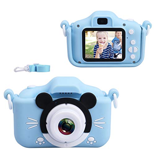 Kids Camera, Digital Selfie Camera 20MP 1080P HD Video Recorder IPS Screen Toddler Cartoon Toy Camcorder with 32GB SD Card, Children Birthday Gifts for 3 4 5 6 7 8 9 10 Year Old Boys Girls Blue
