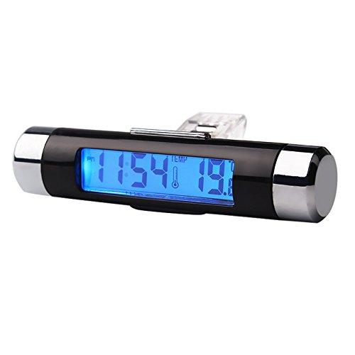 NOPNOG Thermometer Uhr 2 in 1 Auto Ornament Blaue Hintergrundbeleuchtung Digital Display Auto Innendekoration
