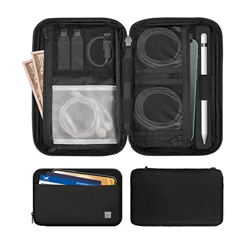 WIWU Electronics Accessories Organizer,Travel Cable Cord Bag Waterproof Accessory Pouch Bag for Apple Pencil,Various USB, Phone,Cable,AirPods,Charger(Black)