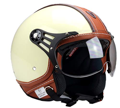 BNO-PL28 Jethelm Beige glänzend + Braun, Motorradhelm, Schutzhelm Helm S - XL (XL)