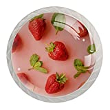 Pomos de cristal para armario de cocina, color rosa fresas, para cajón, armario, (4 unidades)