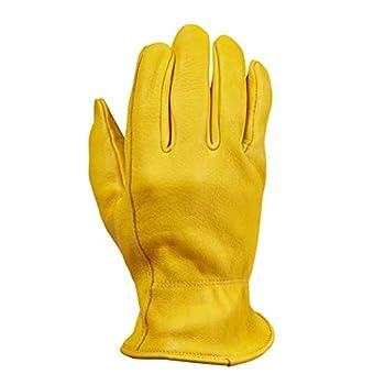 Saranac Hunter Premium Deerskin Gloves for Men Gold Medium - Unlined Full Grain Leather Work Gloves with Ergonomic Design Reinforced Index Finger - Soft Leather Gloves - Premium Men's Leather Goods