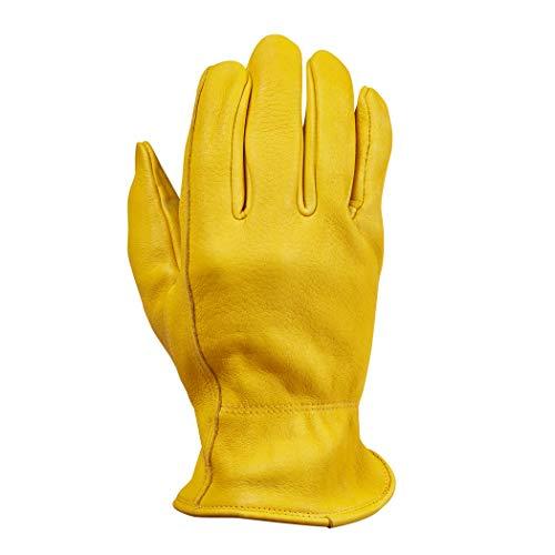Saranac Hunter Premium Deerskin Gloves for Men, Gold, XL - Unlined Full Grain Leather Work Gloves with Ergonomic Design, Reinforced Index Finger - Soft Leather Gloves - Premium Men's Leather Goods