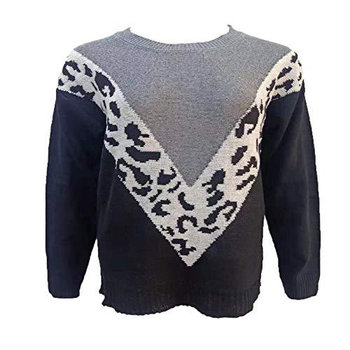 Otoño e Invierno Tops para Mujer Estilo Europeo y Americano Costura de Moda Estampado de Leopardo Suéter de Manga Larga 5X-Large