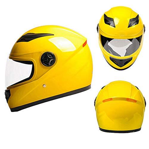 KOKOF Cascos para Bicicletas, Cascos de Bicicleta eléctrica, Casco de batería Casco Modelos Masculinos Y Femeninos Four Seasons Universal Lindo Invierno Caliente Motocicle Yellow-A