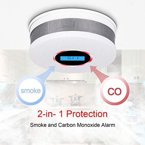 Smoke and Carbon Monoxide Detector Combo - with Voice Warning and LCD Display (AA Battery Not Include) CO Smoke Alarm Detector - 2 Pack
