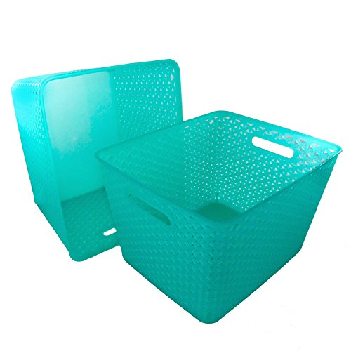 Clever Home Basket Weave Plastic Storage Bin Set of 2 (13.75 x 11 x 9, Turquoise)