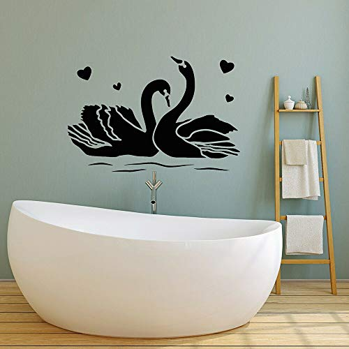 AQjept Amor romántico pájaro Pareja Cisne Tatuajes de Pared calcomanías de Vinilo a Prueba de Agua para baño decoración del hogar Papel tapiz63x42cm