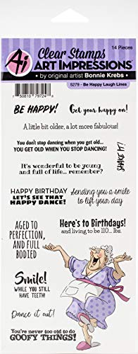 ART IMPRESSIONS LAUGH LINES STAMP BE HAPPY