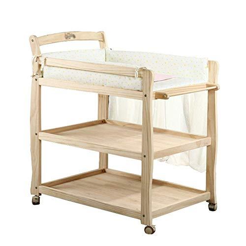 BBNBY baby veranderen tafel hout, draagbare wisselaar station hoogte verstelbaar, baby luier eenheid dressoir w/wielen (houtkleur)