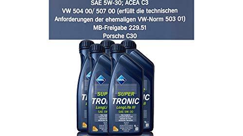 ARAL SuperTronic Longlife III 5W-30 5x1 Liter Super Tronic Motor-Öl Motoren-Öl