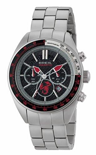 BREIL - Herren Uhr aus der Kollektion Abarth TW1692 - Armbanduhr Chrono Gent mit Analogem Zifferblatt in Schwarz - OS21 MIZOTA Bewegung - Quarzuhr - mit Edelstahl-Armband