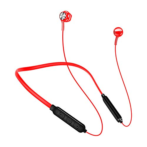 YOJINKE Wireless Bluetooth Headset with Sports Microphone, Waterproof Stereo HD Anti-Sudor Stopper Running Gym Headset Noise Exercise red