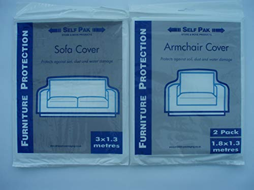 2/3 Seat Sofa Cover plus two Armchair Covers for Moving or Storage (Large Poythene Bags) Money Saving Pack