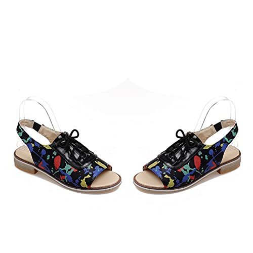 Sandalias de plataforma para mujer con correa ajustable Peep Toe artificial de piel sintética Vamp Beach Shoe Tacones bajos