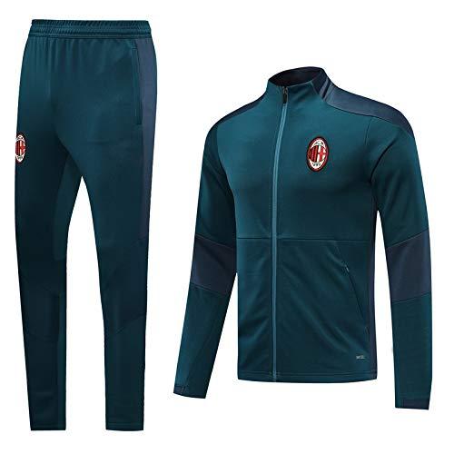 PARTAS Langarmtrikot AC Milan Fußball-Trainingsanzug Erwachsene Sportanzug Offizielle Fußball-Geschenk Jacke und Hose (Size : S)