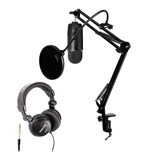 Blue Microphones Blackout Yeti USB Microphone with Knox Studio Boom Arm, Pop Filter and Full Size Headphones