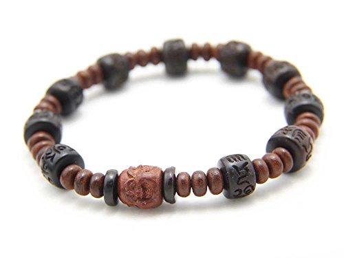 BP009 - Agathe Creation - Bracelet tibetain porte bonheur - Perle centrale en bois d'acajou scultpée bouddha rieur 4 face - Perles bois d'ébéne - Marron - Taille sur mesure - Fait main