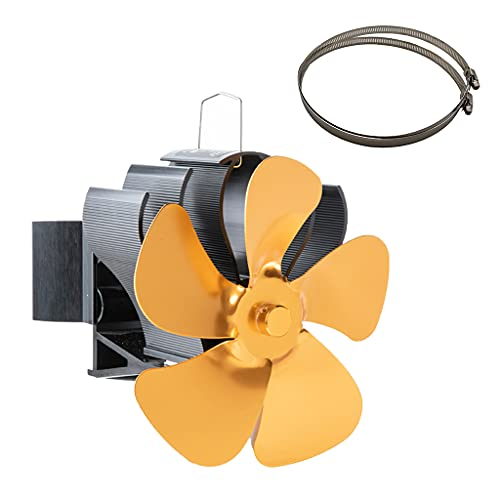 KLOVA Ventilador de Estufa ecológico Chimenea para Quemador de Troncos de Madera Chimenea silenciosa BG604 para Estufa de leña de leña de pellets de Gas Dorado