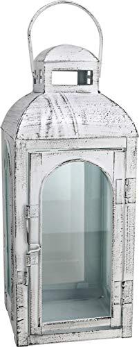 Laterne Rustic weiß 42,5 cm shabbychic, Gartenlaterne Windlicht Dekoration