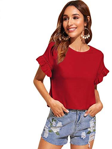 Romwe Women's Short Sleeve Round Neck Contrast Lace Ruffle Trim Cotton Summer Blouse Top Burgundy L