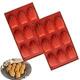 Lot de 2 moules à madeleines en silicone anti-adhésif, obtenir jusqu'à 9 gâteaux, chocolats, bonbons et biscuits
