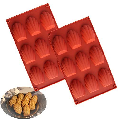 Lot de 2 moules à madeleine en silicone anti-adhésif pour gâteau, chocolat, bonbons, biscuits, 9 tasses