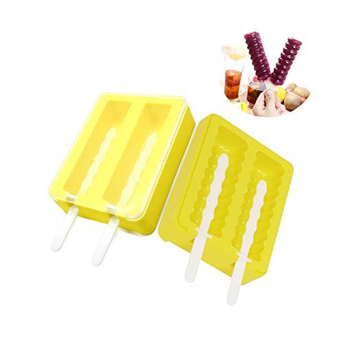 TANGGER Eisformen Eis am Stiel Popsicle Formen 2 Set aus Lebensmittelechtem Silikon für Kinder und Erwachsene, BPA Frei,Gelb