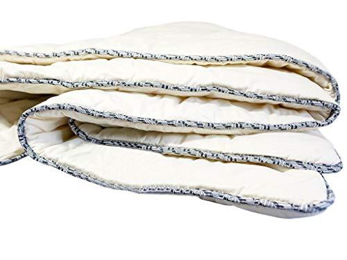Bettdecke aus 100% reiner Naturwolle 80 x 70 cm mit Baumwollsatin-Außenstoff für Kinderbett oder Kinderwagen
