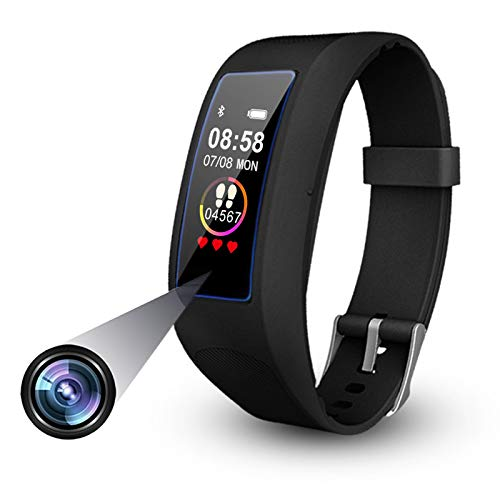 Spy Smart Watch Spy Camera Smart Bracelet 1080P Wearable Hidden Spycam Mini Video Recorder Wristband Invisible Lens Sports Watch Mini DVR Cam Fitness Tracker Compatible for Android & iOS - 32GB