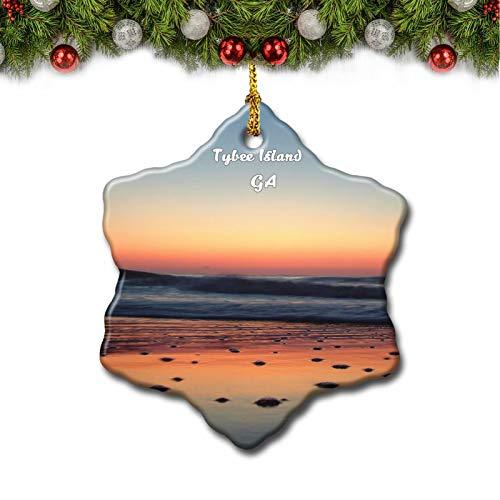 Umsufa Tybee Island Sunrise Georgia USA Christmas Tree Ornament Travel Gift Souvenir 3 Inch Porcelain Double Side