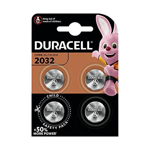 Duracell - 2032 Batteria Bottone al litio 3V, confezione da 4, con Tecnologia Baby Secure per l'uso su chiavi con sensore magnetico, bilance, elementi indossabili (DL2032/CR2032)