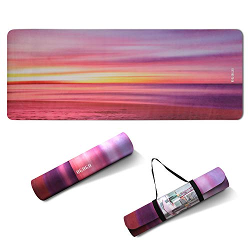 OGOGO Hot Yoga Mat - High Elasticity Non Slip Yoga Mat Thick for Women and Men, Workout Mat for Home Fitness Exercise Travel Pilate Yoga Mat with Strap