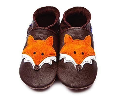 Inch Blue Mädchen/Jungen Schuhe für den Kinderwagen aus luxuriösem Leder - Weiche Sohle - Fuchs Schokobraun