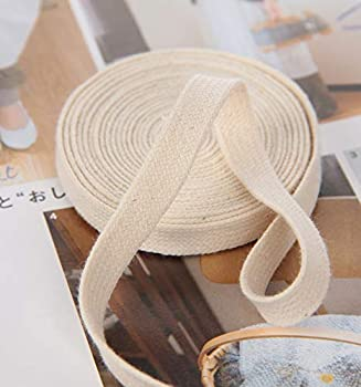Flat Cotton Rope Beige Cord 3/8 Inch,20 Yards-Cotton Cord High Tenacity Braided Pants Waist Flat Rope Thread DIY Craft Home Textile Décor-Cotton Cord Rope for Shoe Laces Clothing Making Crafts