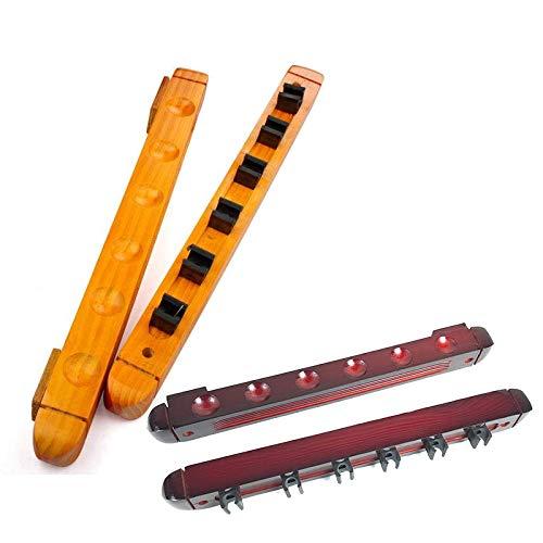 Clipes para tacos de sinuca, fácil de instalar, feito de madeira maciça, pode armazenar varas de pesca, 40 cm x 5 cm, superfície lisa, montagem na parede, comporta 6 tacos, acessórios de soneca para escolas/1
