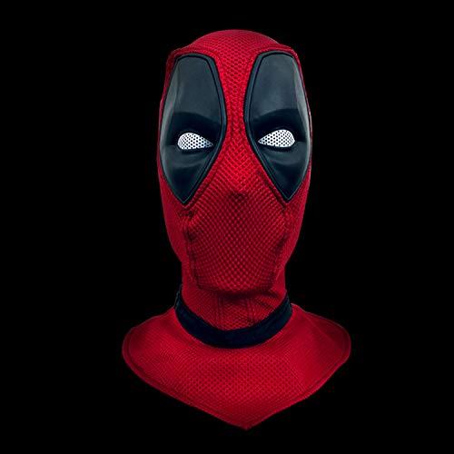 QWEASZER Marvel X-Men Deadpool Vollmaske Helm, Film Cosplay Kostüm Zubehör, Halloween Maske Helm für Erwachsene Männer Kostüm Leistung Requisiten,Red Deadpool-<62cm