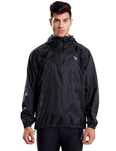 BALEAF Light Running Rain Jacket for Men Waterproof Pullover Nylon Hoodie Cycling Hiking Packable Windbreaker Black Size XXL
