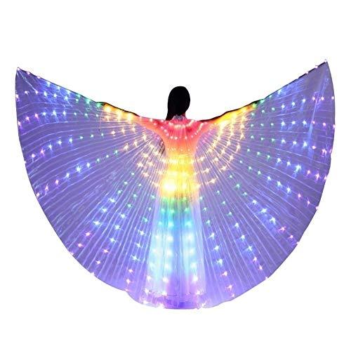 Buikdans LED-verlichting rekwisieten, meerkleurig + telescoopsteel prestaties mantel, dansprestatie te openen, Halloween LED-vleugel kleur dans vleugel oplichtend