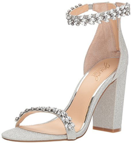 Jewel Badgley Mischka Women's Mayra Sandal, Silver Glitter, 9 M US