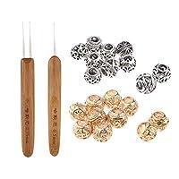 shama 2ピース/個0.5mm / 0.75mmラッチフックかぎ針編み針+20ビーズセット