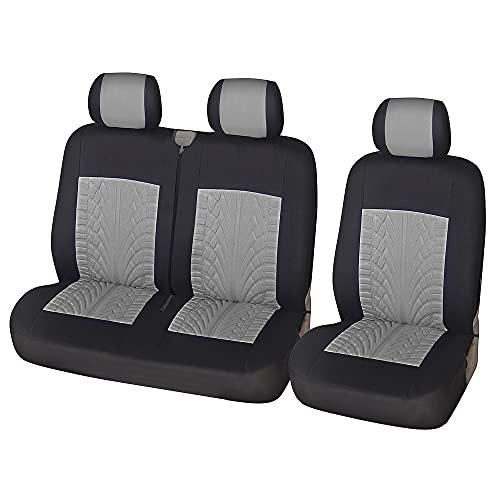 2 + 1 Juego de fundas para asientos de furgoneta Camiones universales Protector de silla delantera de camión Impresión de huellas de neumáticos 3D Cubierta de asiento interior Gris