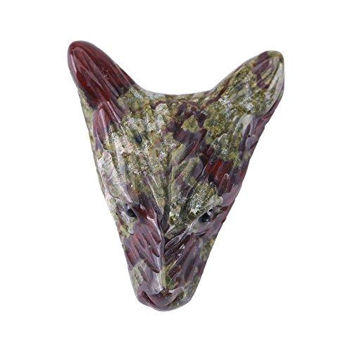 1 pc Pingente de Cristal, 1.57 x 1.18 x 0.39in Cabeça em Lobo Pingente Em Forma de Dragão Natural Pedra Sanguínea de Pedra Esculpida Colar Charme Pequeno Adorno Presente Criativo