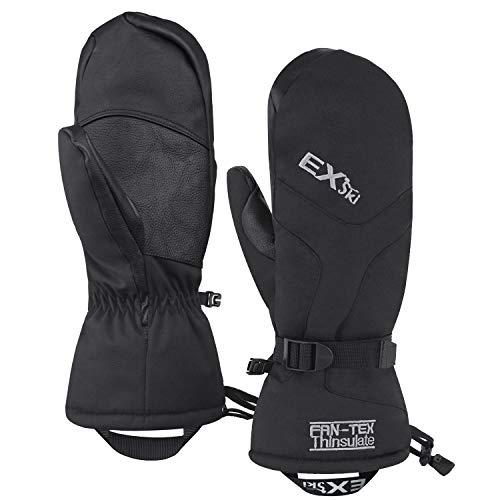 EXski Skihandschuhe Fäustlinge Ski Herren Damen Winter Snowboard Handschuhe Warm Winterhandschuhe Wasserdicht, Schwarz, L