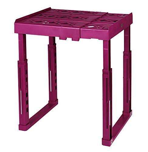Tools for School Locker Shelf with Adjustable Width 8 - 12 12 and Height 9 34 - 14 Stackable and Heavy Duty Ideal for School Work and Gym Lockers Magenta