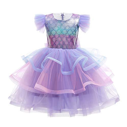 IBAKOM Kinder Mädchen Meerjungfrau Kostüm Prinzessin Arielle Ariel Kleid Cosplay Party Verkleidung Karneval Halloween Weihnachten Geburtstag Outfit Violett 2 3-4 Jahre